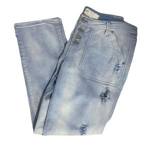 Free People Button Fly Distressed Mom Jeans